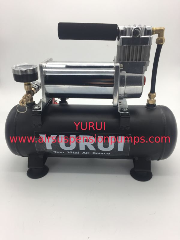 Low Noise DC Air Suspension Pump With Connected Air Tank And Gauge For Air Bag